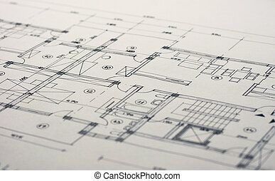 Architecture plans - Close up shot of some architectural ...