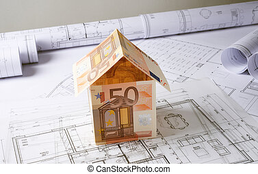 Architecture plans with money house