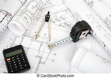 architecture, rouleaux, modèles, plan