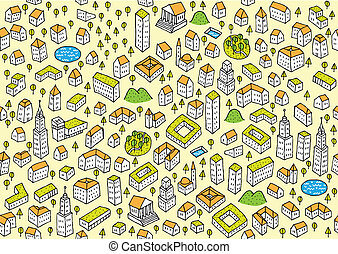 Architecture Set Seamless pattern (repeated) and collection...