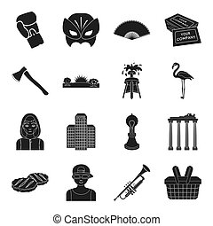 architecture, sport, theater and other web icon in black style. printing, weather, tool icons in set collection.