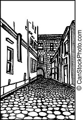 Architecture Street Scene Vector - Isolated black and white...
