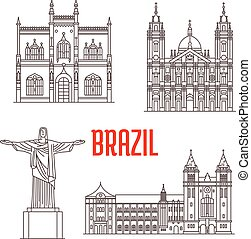 Christ the Redeemer statue, Portuguese Royal Public Library, Sao Bento Monastery, Candelaria Church. Architecture travel landmarks of Rio De Janeiro in Brazil. Tourist sightseeing vector icons