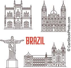 Christ the Redeemer statue, Portuguese Royal Public Library, Sao Bento Monastery, Candelaria Church. Architecture travel landmarks of Rio De Janeiro in Brazil. Tourist sightseeing vector icons