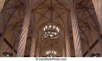 architecture, valencia., gothique, la, seda, llotja, de, salle, espagne