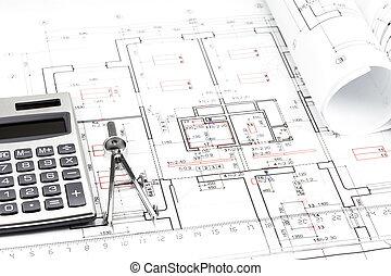 architectuur, bouwschets, detail