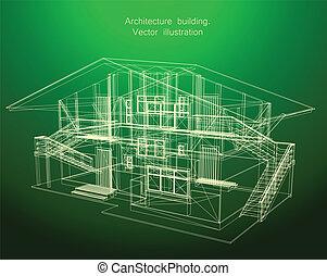 architectuur, bouwschets, van, een, groen huis