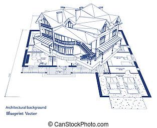 architectuur, bouwschets, van, een, house., vector