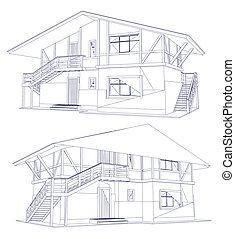 architectuur, bouwschets, van, een, twee, house., vector