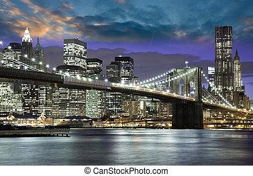 architectuur, en, lichten, van, new york stad