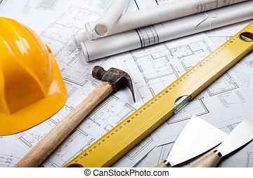 architectuur, gereedschap, op, blauwdruken