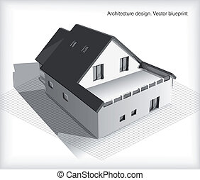 architectuur, model, woning, bovenop, blauwdruken