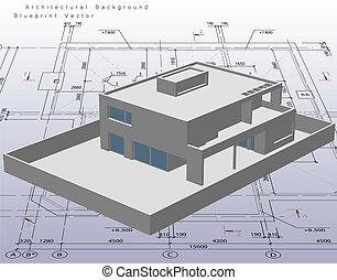 architectuur, model, woning, met, blueprint., vector