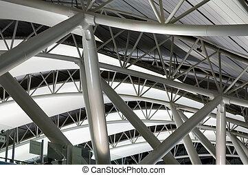 architectuur, op, luchthaven