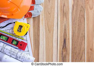 architectuur plan, en, broodjes, van, blauwdruken, met, gereedschapstas