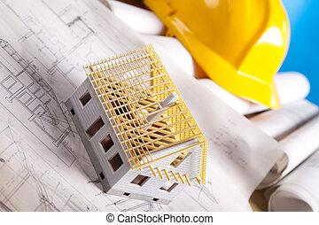 architectuur plan, en, thuis