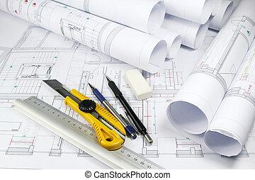 architectuur, plannen, en, gereedschap