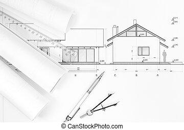 architectuur, plannen, en, tekening, instrumenten