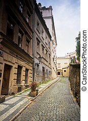 architectuur, straten, oud, prague., het charmeren