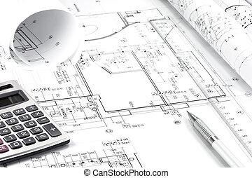 architectuur, tekening, en, instrumenten