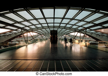 architectuur, van, moderne, treinpost