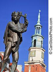 architectuur, van, oud, markt, in, poznan, polen