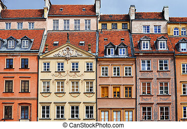 architectuur, van, oude stad, in, warschau, polen