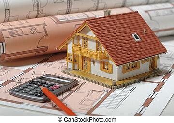 architectuur, woning, blauwe afdruk, plan