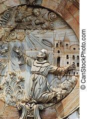 Architecural detail on the front facade of Igreja de Sao...