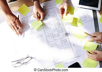 architekci, planowanie, praca