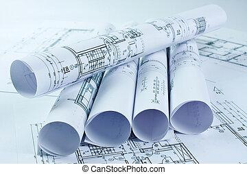 architekt, brötchen, und, haus, pläne