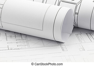 architekt, brötchen, und, pläne, bauplan, zeichnung