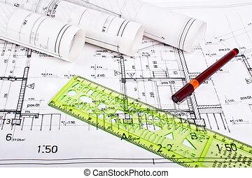 architekt, brötchen, und, pläne