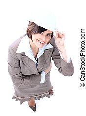 architekt, dziewczyna, z, twardy kapelusz