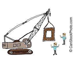 architekt, gebäude, stadt, abbildung