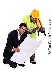 architekt, jego, foreman.