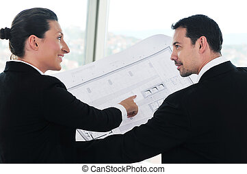 architekt, junger, mannschaft