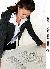 architekt, mit, a, plan, in, der, büro.