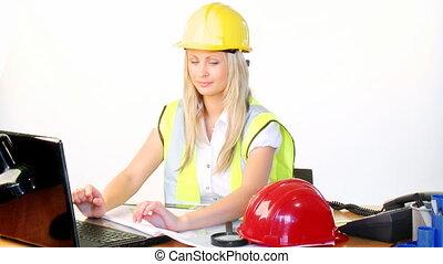 architekt, samica, telefon, używający laptop