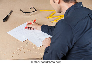 architekt, zeichnungszeichnung, tisch, in, werkstatt
