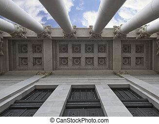 architektoniczny, sufit, od, kapitał, gmach
