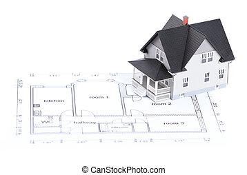 architektoniczny, to, domowe zbudowanie, plan, wzór