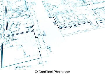 Perfect Architektonisch, Hintergrund, Mit, Bauplan, Und, Technische Zeichnung