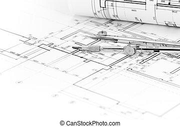 Architektonisch, Hintergrund, Mit, Grundriß, Und, Zeichnungskompaß