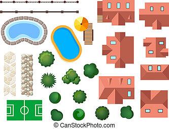 architektonisch, landschaftsbild, kleingarten, elemente