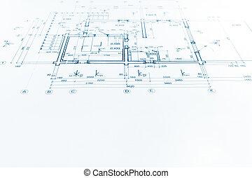 Architektonisch, Projekt, Technische Zeichnung, Bauplan, Hintergrund