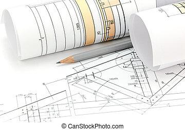 Architektonisch, Projekt, Zeichnungen, Blaupause, Rolle, Und, Haus, Plan