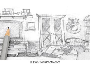 bleistift skizze begriff m bel bleistift skizze begriff papier design wei es m bel. Black Bedroom Furniture Sets. Home Design Ideas