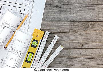 Architektonische Lichtpausen, Mit, Bauunternehmer, Arbeit, Werkzeuge, Mit,  Grundriß, Auf
