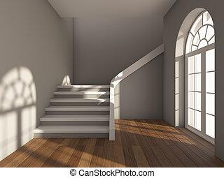 architektonisches design, von, korridor, mit, treppenaufgang